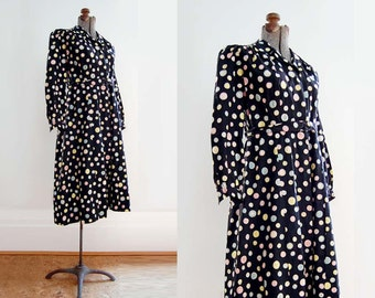 V I  N T A G E Button Button Cotton Dress. Forties Whimsy.