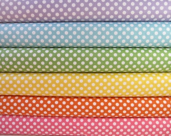 Rainbow of Small Dots Fabrics by Riley Blake Designs - Fabric Fat Quarter Bundle - 1.5 Yards Total