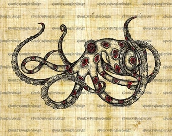 Octopus Steampunk Digital Image Download - Digital Download for Iron on Transfer, Papercrafts, T-Shirts, Tote Bags, Cushions