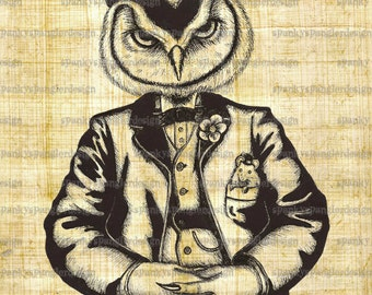 Steampunk Digital Image Download - Owl Gentleman - Digital Download for Iron on Transfer, Papercrafts, T-Shirts, Tote Bags, Cushions