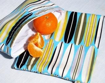 Tiki Surfboards Sandwich and Snack Bag Set, Reusable
