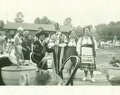 Patriotic Picnic Uncle Sam Black Woman Dancing Bathing Suit Lady Dance Stage Vintage Photo Black and White Photograph