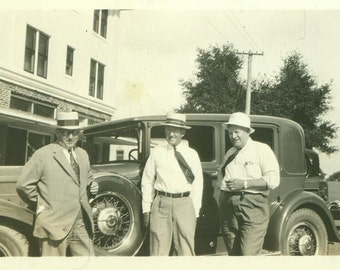 1932 St Petersburg FL Old Men Standing With Spiffy Car Vintage Black and White Vintage Photo Photograph