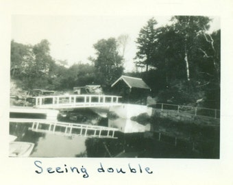 Seeing Double Small Boat Dock Reflecting in Water  Maine Vintage Photo Snapshot Black White Photograph