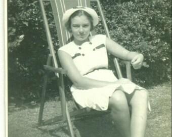 1936 Girl Sitting Outside in Lawn Chair Nautical Dress Hat Birmingham AL 30s Vintage Black White Photo Photograph