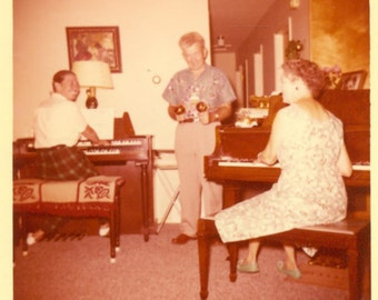It's a Party Playing Piano Organ Maracas 60s Old Woman Man Vintage Color Photo Photograph