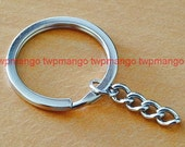25 Key Rings with Chains...Key Chains...30mm...H119-25