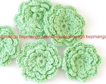 20 Handmade 1.5 inch Crochet Flower Appliques......Lime... EA246-1