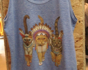 Three Native Kitty Cats Mens Tank Top American Apparel Athletic Blue or Gray