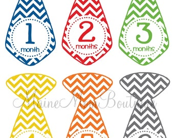 READY TO SHIP Monthly Baby Boy Tie Stickers Baby Month Sticker Bodysuit Milestone Tie Stickers Colorful Chevron