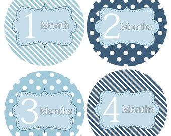 FREE GIFT, Baby Boy Monthly Stickers, Bodysuit Stickers, Month Stickers,  Blue Stripes Dots  Photo Prop Baby Gift