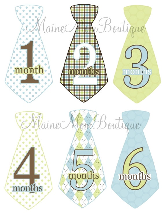 READY To SHIP SALE Baby Monthly Stickers Boy Blue Brown Green Argyle Dots Tie Month Stickers Mom Shower Gift