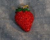 Vintage Rhinestone Strawberry Brooch