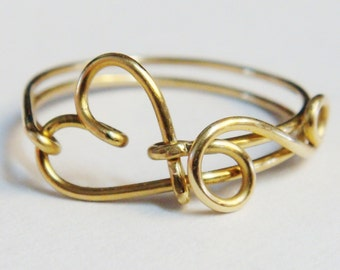 Heart Love Ring   Gold Ring   14K Gold Filled Love Ring    Friendship Ring    Bridesmaid Jewelry    Valentines Gift   Valentines Day