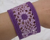 Crocheted Flower Bracelet in Purple Shades