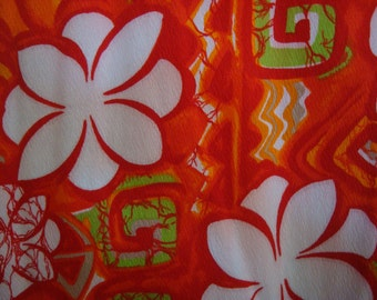 "Vintage 1960's Citrus Floral with Geometric Print Barkcloth ""Aloha Authentic Hawaiian Originals"" Maxi Dress- Small"