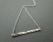 silver bar necklace, hammered bar necklace, minimalist silver necklace, delicate sterling silver, hammered bar, horizontal bar, wedding