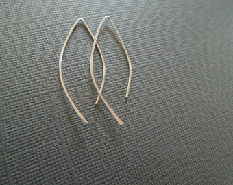 simple hoops earrings, sterling silver, almond earwires, minimalist, modern, hammered, delicate, everyday, lightweight, E27