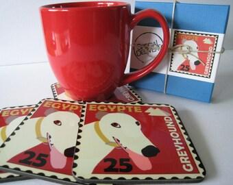 Greyhound Art Dog CoastersDecor Hostess Gift