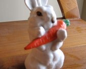 vintage ussr russia 60s porcelain bunny with a carrot