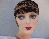 Bohemian Black and Red Silk Headband...Headpiece....Bandeau....Boho