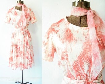 60's Brush Stroke Floral Dress with Matching Scarf and Waist Belt Vintage Knife Pleated Dress / Abstract Floral Print