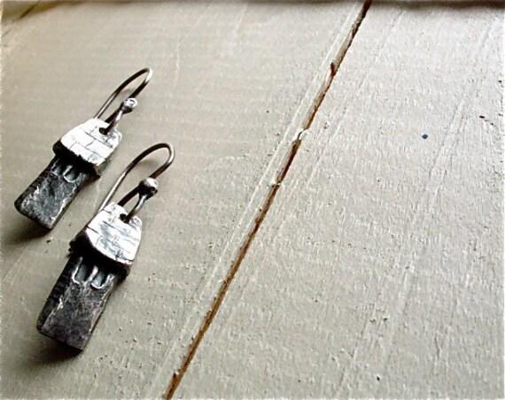 silver house earrings : rustic home fairy tale folklore village . handmade silver