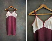 Hand-Dyed Vintage Slip Dress: Color Blocked Maroon and Nude
