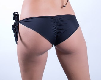 Black Unlined Side Tie Scrunched Bottom- ONE SIZE fits most.