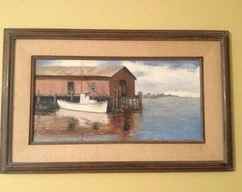 Mid Century Oil painting of harbor signed Sullivan