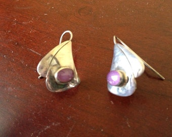 Beautiful sterling and stone earrings signed MF 925