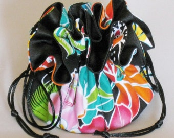 Hawaiian Floral Organizer Pouch--Jewelry Drawstring Travel Tote---Medium Size