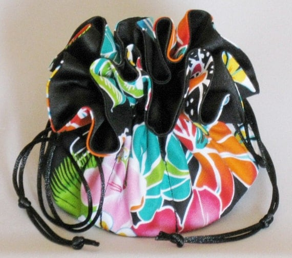 Jewelry Travel Tote---Hawaiian Floral Design---Drawstring Organizer Pouch---Medium Size