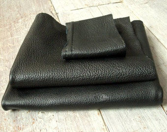 Leather Pieces, Black, 3 Sections, Pebbled, Genuine Suede Hide, Strong Heavyweight, DIY Leathercraft & Sewing, Vintage Skin, Free Shipping