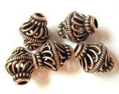 8 Tibetan style Beads antique copper openwork ethnic boho chic 12mm x 16mm   A1694-W4