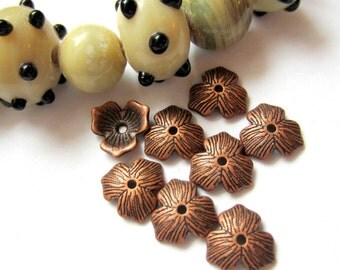 Antique copper bead caps 30 jewelry making supply Ea11600-V3