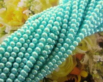 65 Pearl Beads Aqua Turquoise glass beads 4mm jewelry supplies LF0286