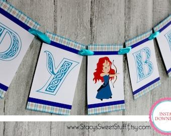 Brave Girl Birthday Banner, DIY, Printable, INSTANT DOWNLOAD