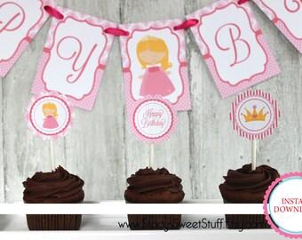 Sleeping Beauty Cupcake Toppers, DIY, Printable, Instant Download