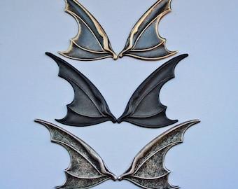 Gothic Wings, Vampire, Bat, Dark Bird, USA Brass Metal, Dark Gothic, Brass Ox, Or Dirty Silver Ox