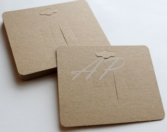 200 pcs of Blank Hair Clip Display Card in Brown Kraft Paper for Accessory and Jewelry for DIY(with hanging hole on top)