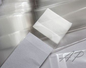 "Set of  50pcs Clear Self Sealing Cello Poly Bag Envelope  1 3/16 X 6 3/8"" (30mm X 160mm) and 1 5/8(flap)"