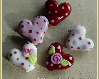 Sweetheart Valentine's Lampwork Bead Set