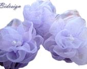 6 pieces blue lilac organza flowers