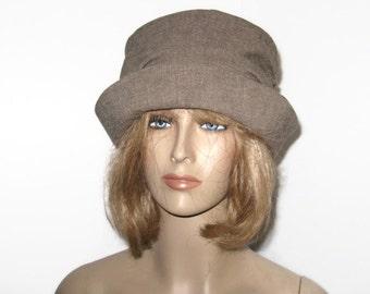 Cloche Hat Womens Brown Tweed