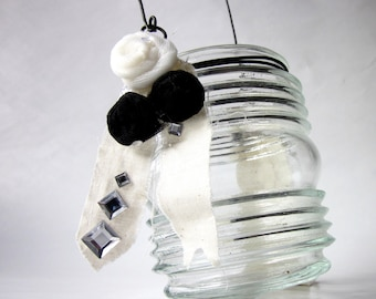 Glass Hanging Candle Holder with Black and White Rosettes and Ribbon