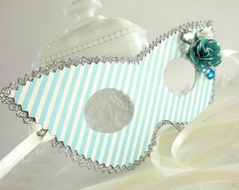 Light Teal Blue Cream and Silver Striped Masquerade Mask with Jewels and Rosettes