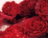 1 Yard Chiffon Rose Lace Trim Appliqué Red 3D Bridal Wedding Camellia Ruffled Flower Hair Comb LA019