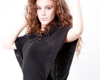 Women's Vest, Oversize , Shawl Collar, Knit fabric,  Roomy, Gray, Indigo Blue, T shape vest, plus size