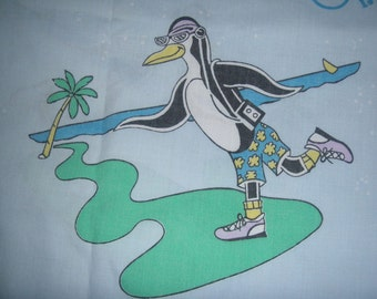 OP Ocean Pacific Blue TWIN FLAT Sheet  with Penguins - Reclaimed Bed Linens
